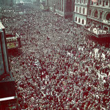 Huge Crowd Celebrating Ve Day in New York City During WWII
