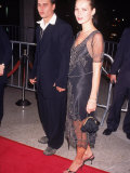 "Actor Johnny Depp and Girlfriend  Model Kate Moss  at the Film Premiere of ""Donnie Brasco"""