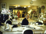 Fashion Designer Christian Dior in His Studio Working on New Collection before Showing