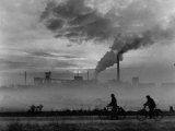 Steel Mill in Dusseldorf  German Steel Workers Bicycling Home from Work