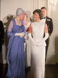 Mrs John F Kennedy  Wearing Long White Gown  Attending Reception in Canadian Capitol