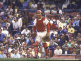 Cincinnati Redlegs' Catcher Johnny Bench in Action Alone