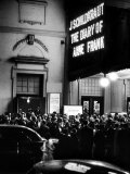"People Gathering Outside a Theater for the Opening of ""The Diary of Anne Frank"""