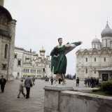 Dior Model in Soviet Union for Officially Sanctioned Fashion Show Posing in Public
