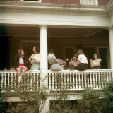 Students of Smith College Socializing on Porch