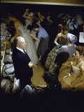 Fashion Designer Christian Dior and Staff Rehearsing Prior to New Collection Showing