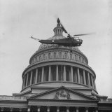 First Successful Us Army Helicopter Designed by Igor Sikorsky Flying Past the Capitol Dome