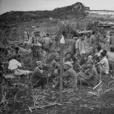 Japanese Prisoners under Guard in Temporary Pen During the Invasion of Saipan