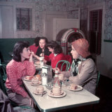 Female Student of Smith College Stop for a Bite to Eat at Local Diner