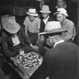 Japanese American Men Playing Game of Go at Heart Mountain Relocation Camp