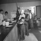 Japanese Americans Lining Up for Meals at Heart Mountain Relocation Camp