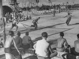 American Servicemen Playing Baseball on a Makeshift Field