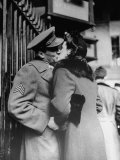 Soldier Giving a Farewell Kiss to His Lady Friend at Penn Station before Shipping Out