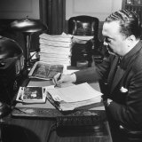 Director of the Fbi J Edgar Hoover Working at His Desk