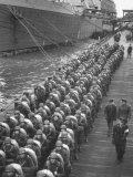 Troops Ready for D-Day Invasion of Normandy are Reviewed before Shipping Out  During WWII