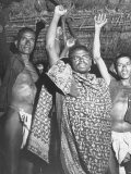 Indian Aborigines Communist Villagers Giving the Red Flag Salute
