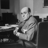Portrait of Czech Foreign Secy Jan Masaryk Sitting at Desk in His Office