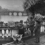 People Buying Flowers from the Flower Stall Near the Banks of Pont Neuf