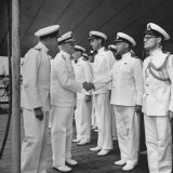 Adm Chester with Nimitz Meeting Officers Aboard the British Battleship George V