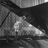 Czech Foreign Secy Jan Masaryk Playing Chopin on Piano at His Residence in the Ministry