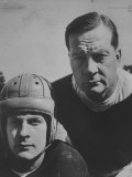 Bob Blaik Wearing a Helmet While Posing with Father  Coach Earl Blaik