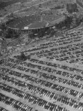 Aerial View of Rose Bowl Showing Thousands of Cars Parked around It