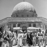 King Abdullah and His Party Standing in Front of the Dome of the Rock  a Sacred Place to Moslems