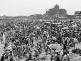 Throngs of People Crowding the Beach at the Resort and Convention City