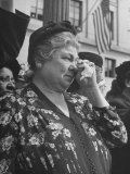 Woman Crying While Watching Funeral Procession for Pres Franklin D Roosevelt