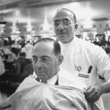 Goldman Sachs and Co Partner Sidney Weinberg Sitting in Chair at Barber Shop
