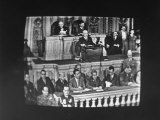 President Harry S Truman Addressing a Joint Session of Congress  as Shown on a Tv