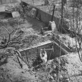 George Phillips  Ex-Army Lieutenant  Digging in the Bomb Shelter He Is Building in His Back Yard