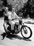 Man and Woman Enjoying Riding on Motorcycle