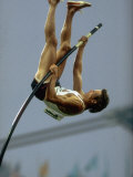 US Athlete Bob Seagren in Action During Pole Vaulting Event at the Summer Olympics