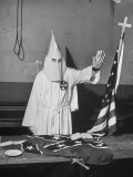 The Member Demonstrating the Klan Greeting During the Ku Klux Klan&#39;s Secret Membership Ritual