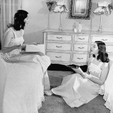 The O'Connor Twins Gloria and Consuelo  Sitting in Bedroom  Almost Exacat Look-Alikes