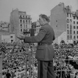 Gen Charles De Gaulle Addressing Crowd