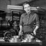 Businesswoman Beatrice Hicks  Pres of Precision Parts Firm  in Her Factory