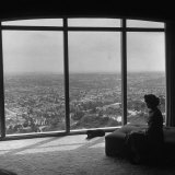 Women in Her Modern Home in Mountains Overlooking Los Angeles