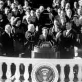 President Joh F Kennedy Being Sworn in at the Inaugural Ceremony