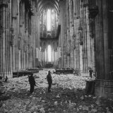 Interior View of a Damaged Cologne Cathedral