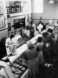 Shoppers at Butcher Counter in A&amp;P Grocery Store