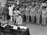 General MacArthur Watching Japanese Official Mamoru Shigemitsu Officially Surrender  USS Missouri