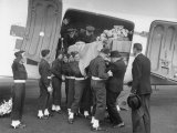 Men Lifting Count Folke Bernadotte's Coffin from the Plane