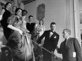 Designer Charles James  Standing on Steps with Models Who are Wearing Dresses from His Collection