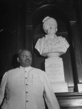 H H Jam Sahab of Bikaner in the Chamber of Princes Standing Next to Bust of His Late Uncle