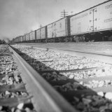 Wartime Railroading: Box Cars of Freight Train Moving Down the Track