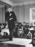 Woman Modelling a Mink Coat at the Fashion Show