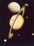 Montage of Saturn and Satellites Taken by Voyager 1 and 2  Titan Iapetus and Tethys Mimas and Rhea