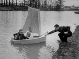 Astronaut Virgil Grissom with Sons in Boat at Lake Near Home